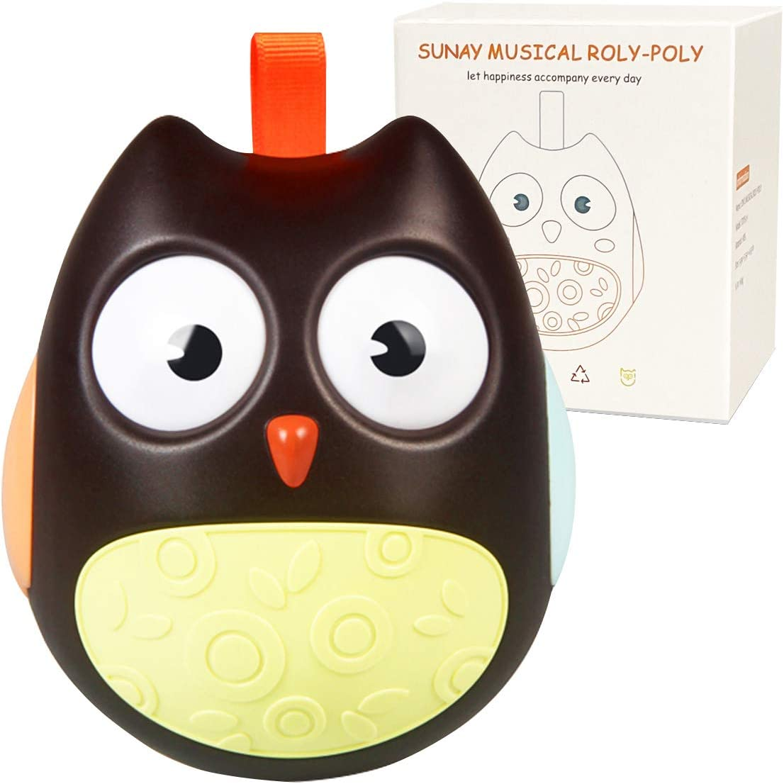 Sunay Roly Poly Baby Toys 3-6 Months and 6 to 12 Months Developmental, Tummy Time Toys - Baby Musical Toys Built-in Bell - Gift Packed Tumbler Wobbler for Baby Boy and Girl (Brown)