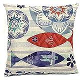 シリアル Vanki 海綿リネン正方形装飾的な枕投げケース クッション カバー 18 × 18 インチ、レトロな青サンゴ魚印刷パターン