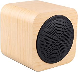 Wireless Buletooth Stereo Speaker A008 Portable Wood Cubic Bluetooth V4.1 Stereo Speaker with Mic, Support Hands-Free & AUX Line in (Black) (Color : Yellow)