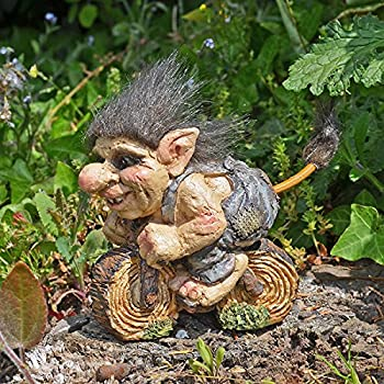 Troll tenant Canne de marche Sculpture Petite fantaisie Cadeau unique Home Fantasy Home Decor H