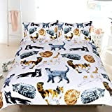 Sleepwish 3 Pcs Cat Bedspread Cute Hipster Cats Pattern Bedding Funny Animal Duvet Cover Pastel Color Nature Bed Set (Queen)
