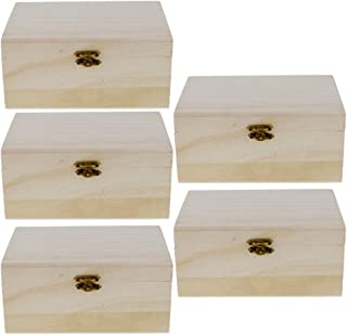 Lovoski Pack of 5 Unfinished Wood Box Treasure Case Lightweight Unpainted Wooden Photo Box - Decorate with Painting Art Crafts