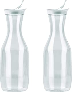 DecorRack 2 Large Water Carafes with Flip Top Lid, 50 Oz Each, BPA Free- Plastic Juice Pitcher, Decanter, Jug, Serve Iced Tea, Water, Perfect for Outdoors, Beach, Picnic, Parties, Clear (2 Pack)