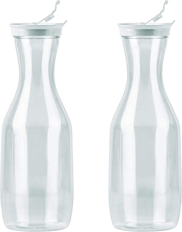DecorRack 2 Large Water Carafes With Flip Top Lid 50 Oz Each BPA Free Plastic Juice Pitcher Decanter Jug Serve Iced Tea Water Perfect For Outdoors Beach Picnic Parties Clear 2 Pack