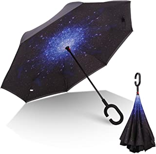 RUMBRELLA Inverted Double Layer Inside Out Windproof Umbrella, Large Self Standing Reverse Car Umbrellas with C Shaped Handle