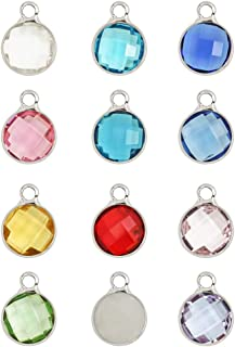 2 sets Mixed Birthstone Charms 8mm Austrian Crystal Beads Sterling Silver Plated (24pcs) for Jewelry Craft Making CCP4-S