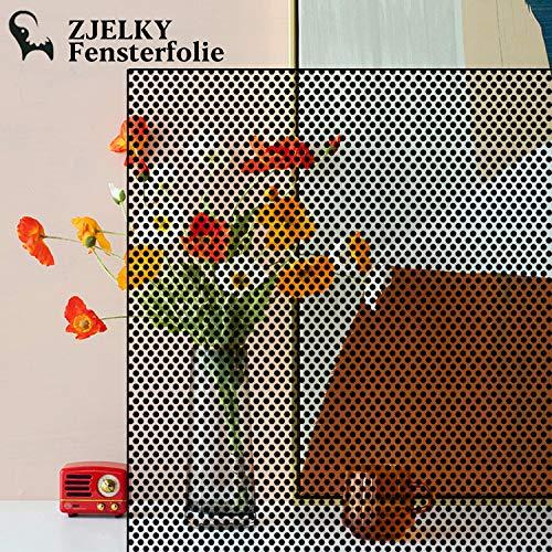 ZJELKY Fensterfolie Sichtschutzfolie Fenster fensterfolie selbsthaftend Blickdicht Selbstklebende Folie Sonnenschutzfolie Anti-UV Schwarzen Punkten 44 * 200cm