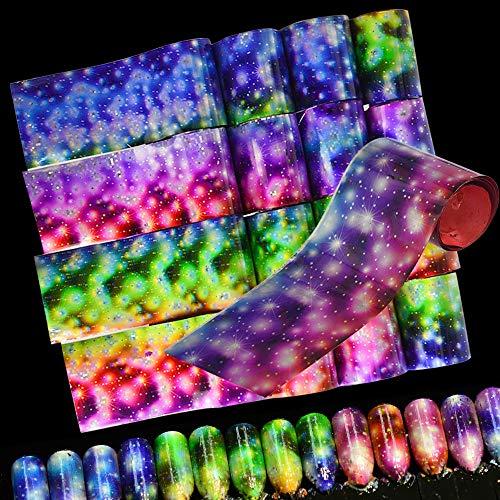 MEIYY Autocollant D'ongle 16 Rouleaux 120 M Feuilles De Transfert Nail Art Autocollant Mode Ciel Étoilé Paillettes Pluie Fleur Beauté Bricolage