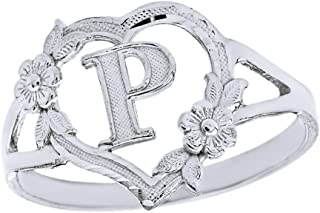 CaliRoseJewelry Silver Initial Alphabet Personalized Heart Ring - Letter P