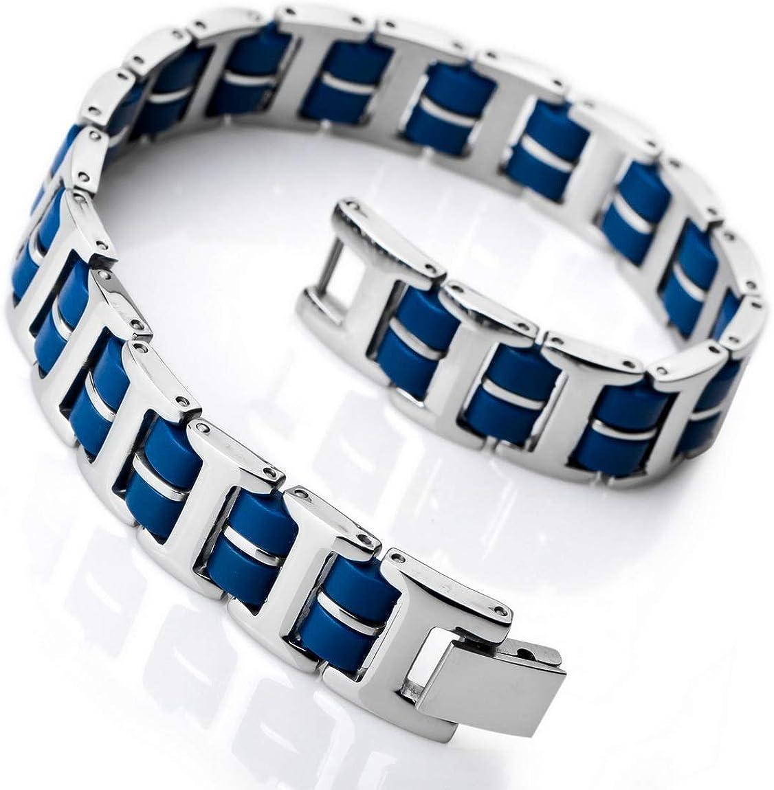 INBLUE Men's Stainless Steel Rubber Max 65% OFF Link Wrist Industry No. 1 Bracelet T Silver
