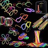 IREGRO Glow Sticks, 200 PCS 8'' Bagliore colorato bastoni Bulk e 260 connettori per Collana Bagliore, Palle di Fiori, Bicchieri Luminosi e Triple/Farfalla di bracciali