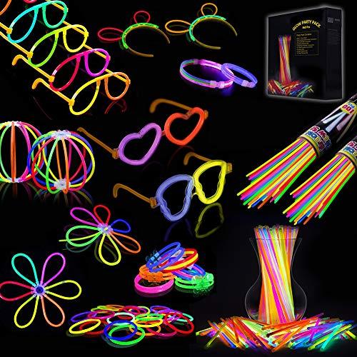 IREGRO Knicklichter 460 Stücke Leuchtstäbe Armreifen Glowstick Partylichter inkl. 100 x 2D-Verbinder, 4 x Kreisverbinder, 4 x 7-Loch-Verbinder vielfarbig