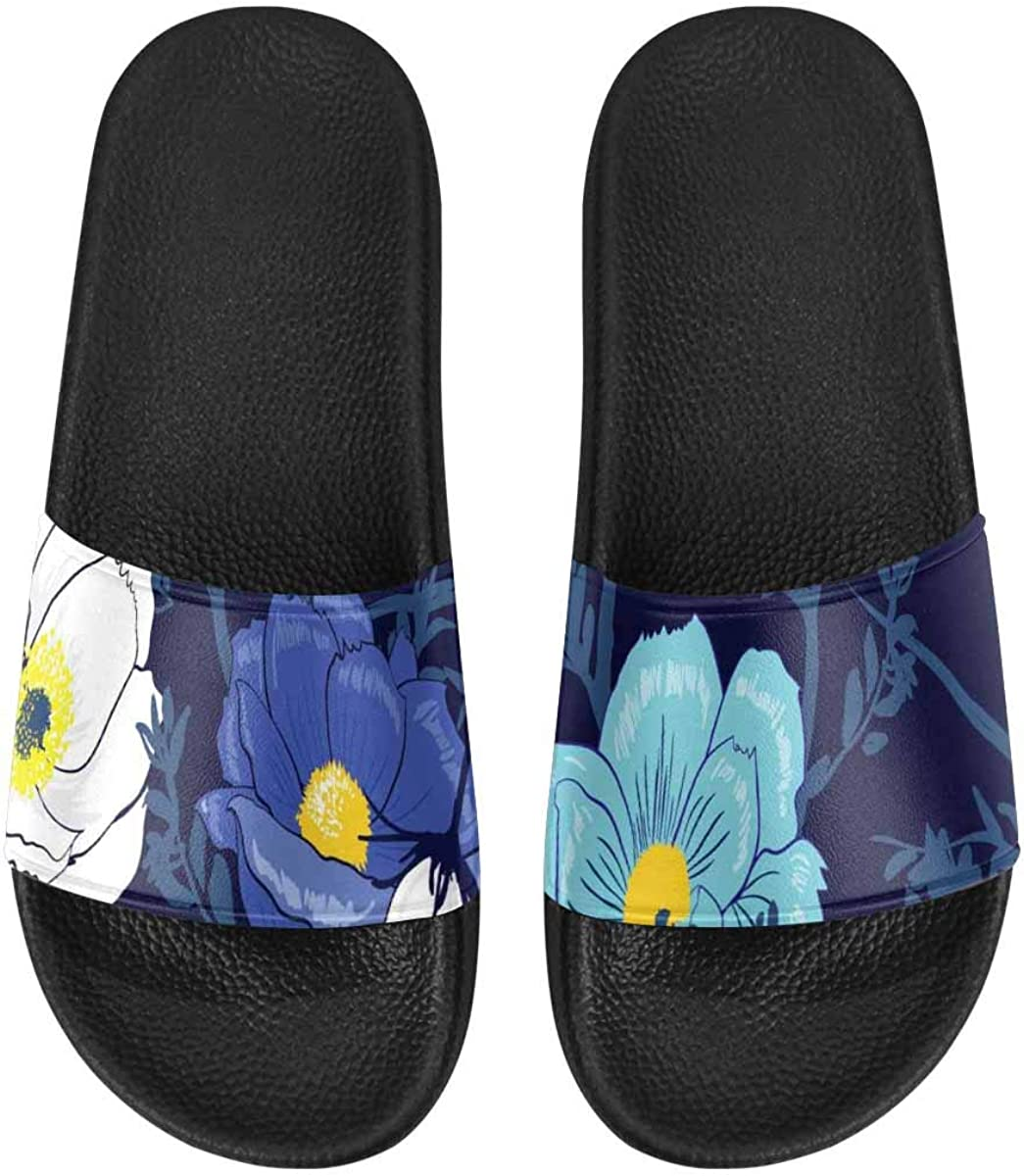 InterestPrint Women's Slide Sandals with PVC Straps and Sole Black Flowers Lace on Blue