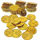 50 monedas de oro de plástico, monedas de juguete de dinero falso del tesoro...