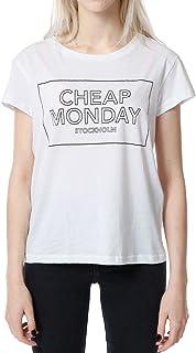 ウィークリーウィメンズウィメンズTシャツシンロゴTシャツ、ホワイト(ホワイト)、6(メーカーサイズ:X-Small)