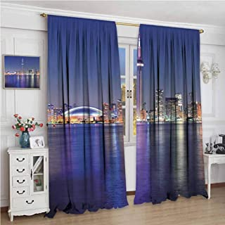 GUUVOR Blue Shading Insulated Curtain Canada Toronto Sunset Over The Lake Panorama Urban City Skyline with Night Lights Soundproof Shade W108 x L96 Inch Blue Pink Peach
