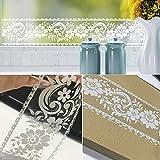 SimpleLife4U Frise de papier peint amovible en dentelle blanche et transparente, 003049