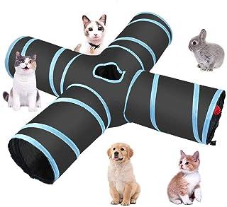 hothuimin 4-vägs katttunnel, stor inomhus utomhus hopfällbar husdjur leksak tunnel tub med förvaringsväska för katter hund...