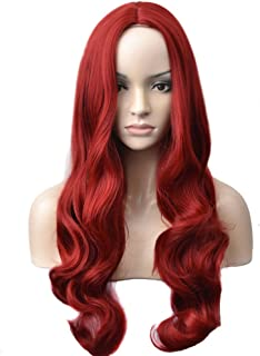 BERON Long Wavy Charming Full Synthetic Wigs for Women Girls Natural Curly Wigs with Wig Cap (Deep Wine Red)