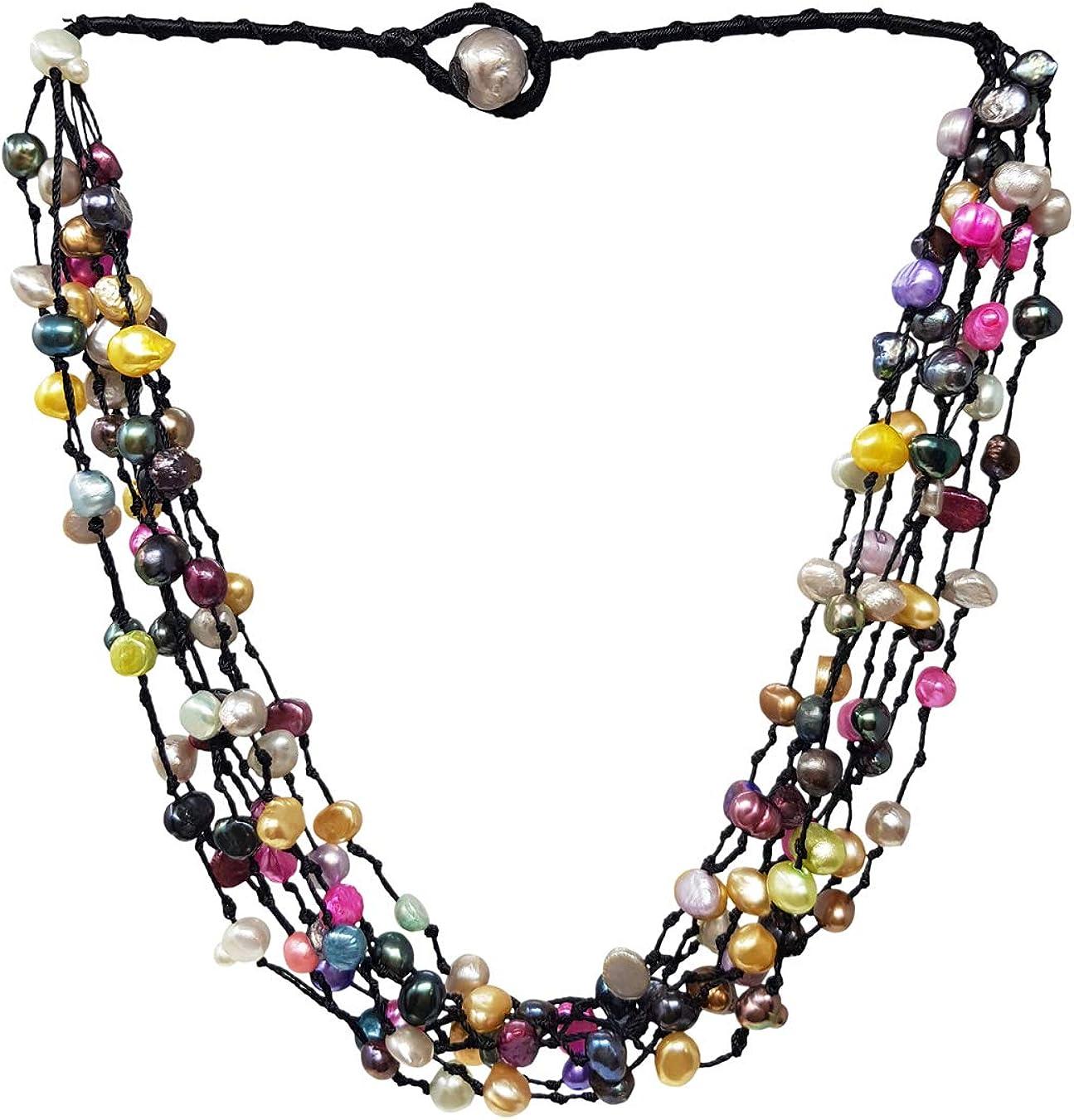 TreasureBay Stunning Multi-Strand Natural Freshwater Pearl Necklace, Women's Pearl Necklace (Multicolored)