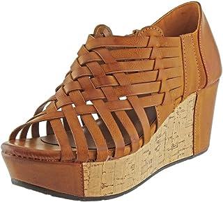 Pierre Dumas Womens Natural-1 Vegan Leather Criss Cross Strappy Wedge Platform Sandals