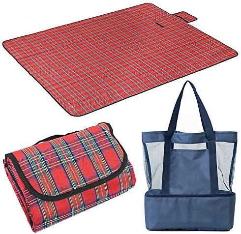 Beach Blanket Beach Cooler Bag Large SandProof Waterproof Mat Lightweight Picnic Blanket Insulated product image