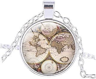 ワールドマップ神ネックレスペンダントジュエリーガラスドームアートペンダントTravellerギフトレディースメンズ