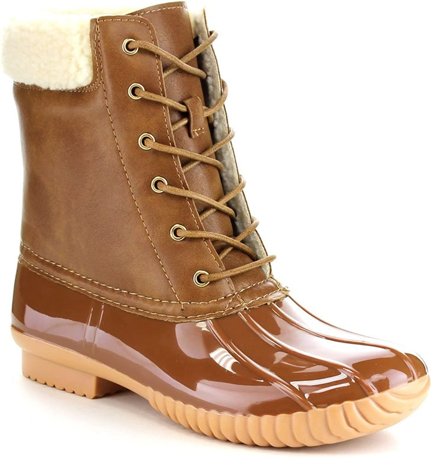 Forever Kyla-3 Women's Fashion Pull-On Faux Fur Waterproof Lace up Duck Boots,Tan,6