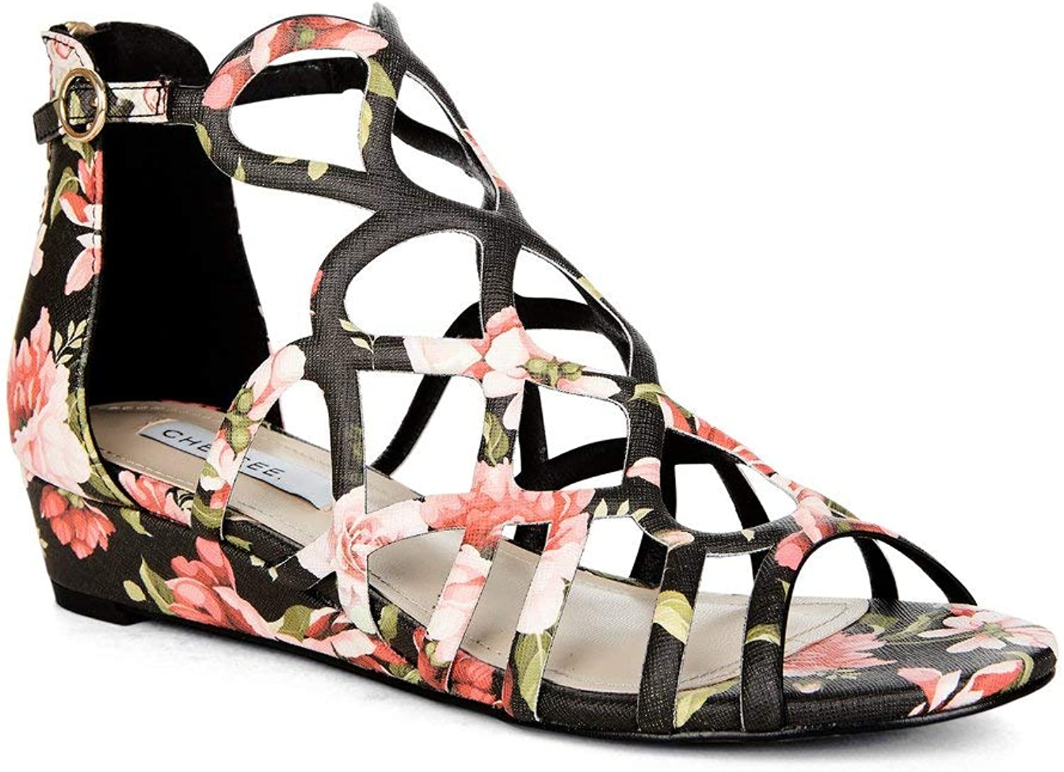 Yellow shoes - Addiction Floral - Women's Low Wedge Heel & Floral Sandals