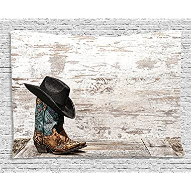 Ambesonne Western Decor Tapestry, Traditional Rodeo Cowboy Hat and Cowgirl Boots in a Retro Grunge Background Art Photo, Wall Hanging for Bedroom Living Room Dorm, 80 X 60 Inches, Brown Black