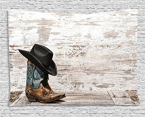 GUDOJK Tapisserie Westdekor-Tapisserie-traditioneller Rodeo-Cowboyhut und Cowgirl-Stiefel in einem Retro- Schmutz Art Wall Hanging für Schlafsaal 130cmx150cm
