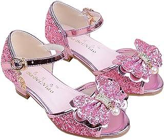 73d32a8cff44 wangwang Toddler Girls Princess Sandals Sparkly Low Heels Wedding Party  Dress Shoes