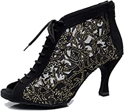 TDA QJ7018 Womens Lace-Up Mesh Salsa Tango Ballroom Latin Wedding Party Dance Shoes