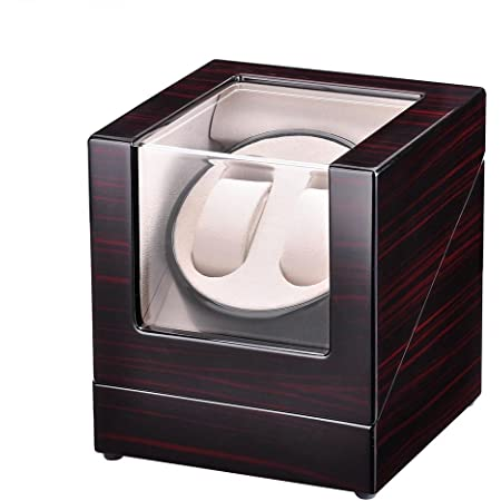 Yescom Automatic Double Watch Winder Display Box Cherry Wooden White Lint Inside Storage Organizer Case Single Motor