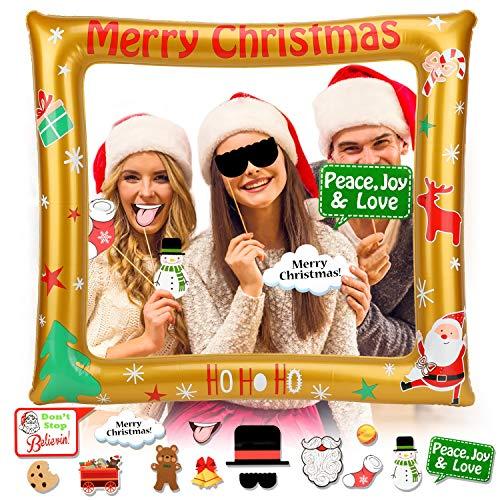 HOWAF Navidad Inflable Photo Booth Props Marco con Navidad