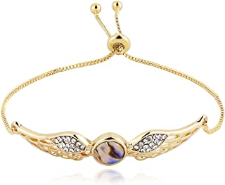 PANGRUI Exquisite Design Adjustable Crstal Angel Wings Charm Chain Bracelet with Abalone Shell