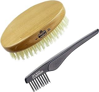 (MC4+LPC2) - Kent MC4 13cm Gentleman's Cherrywood Travel Size Oval Military Men Hairbrush. Pure White 1.3cm Bristle+ Kent ...