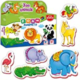 Little World Foam Fridge Magnets for Toddlers Age 1 2 3 - Refrigerator Magnets for Kids – Large Baby Magnets Toy – Set of 27 Magnetic Animals for Toddler Learning – Safe Kids Magnets