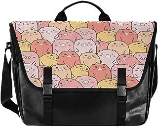 Colorido cerdo lindo de dibujos animados hombres y mujeres de lona, bolso de hombro para mujer, estilo retro, ideal para i...
