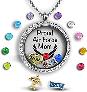 Army Mom Navy Mom Air Force Mom Jewelry 30mm Floating Locket Charm Necklace for Women