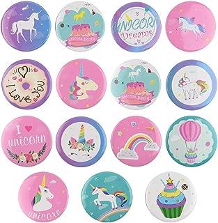 TUPARKA 15 Stück Einhorn Buttons Einhorn Geburtstag Mädchen Set, Einhorn Party Favors Einhorn Thema Party Supplies