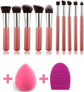 MISS & MAM Makeup Brushes Kit with Blender Sponge and Brush Egg (10+2pcs,Pink/Silver)