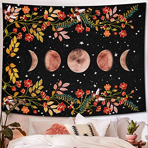 Lifeel Moonlit Garden Tapestry, Moon Phase Surrounded by Vines and Flowers Black Wall Decor Tapestry 60×80 inches