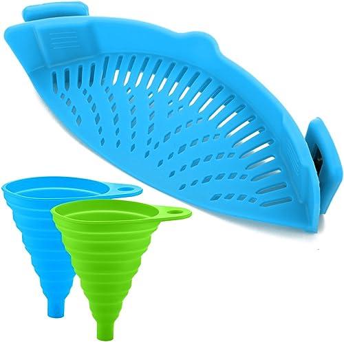 Passoire en silicone avec 2 entonnoirs pliables - Fixez la passoire à la casserole pour égoutter vos al...