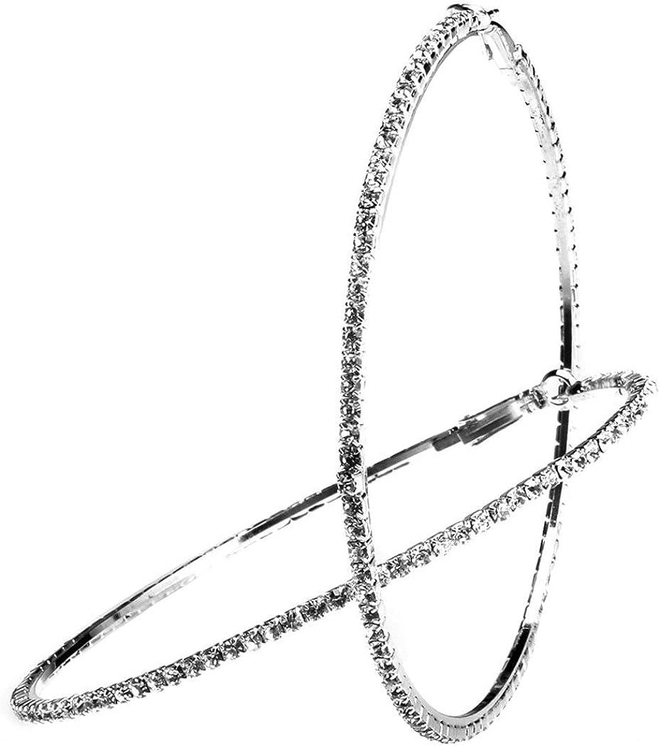 Bridal Wedding Crystal Rhinestone Hoop Earrings