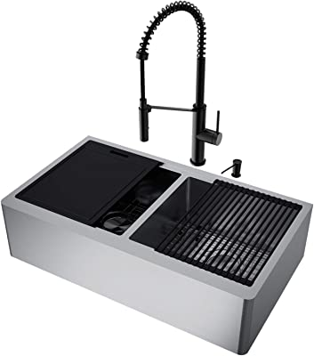 """VIGO VG15927 20.5"""" L -36.0"""" W -23.5"""" H Stainless Steel Double-Bowl Farmhouse Kitchen Sink Set with Matte Black Faucet, Soap Dispenser, Cutting Board, Grids and Strainers"""