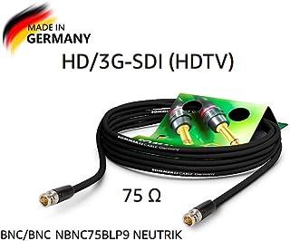 Sommer Cable - Cable de vídeo 3G-SDI/HD-SDI (HDTV) SC-Vector 0.8/3.7, BNC/BNC NBNC75BLP9, Color Negro