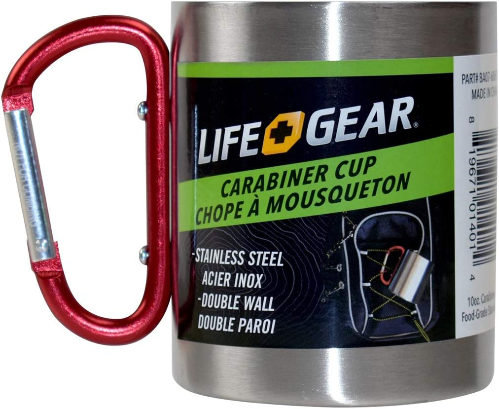 Stainless Steel Cup Camping Outdoor Cup Mug With Carabiner Hook Handle-~fa