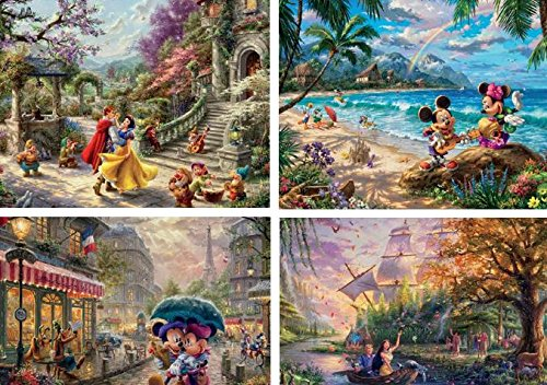 Ceaco Thomas Kinkade The Disney Collection 4 in 1 Multipack Snow White, Mickey & Minnie Mouse, & Pocahontas Jigsaw Puzzles, (4) 500 Pieces