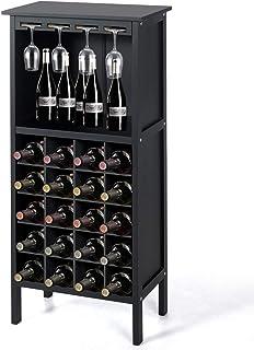 DREAMADE Étagère à Vin en Pin Casier de Rangement en Bois Massif pour 28 Bouteilles de Vin et 12 Verres de Pied, 42 x 24,5...